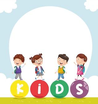 Ilustração em vetor de paisagem colorida de crianças