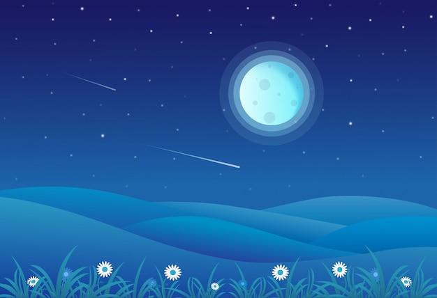 Ilustração em vetor de paisagem de colinas de noite com a lua cheia e um céu estrelado