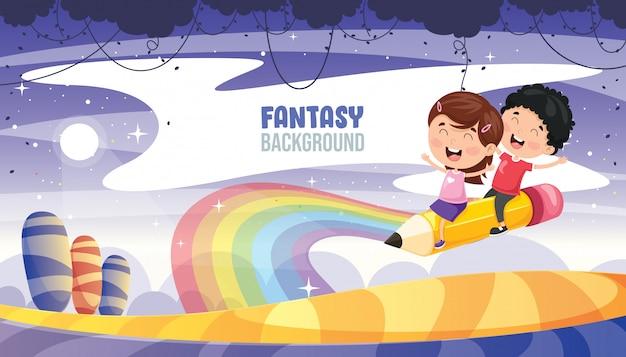 Ilustração em vetor de paisagem de fantasia