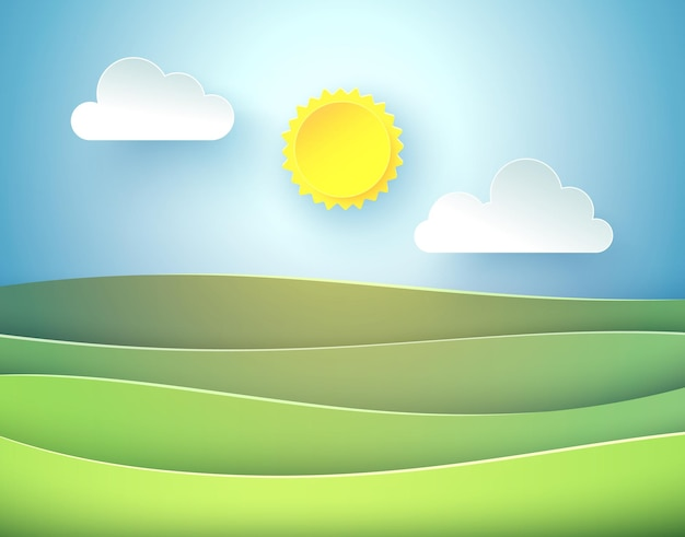 Ilustração em vetor de paisagem ensolarada com nuvens e campos.