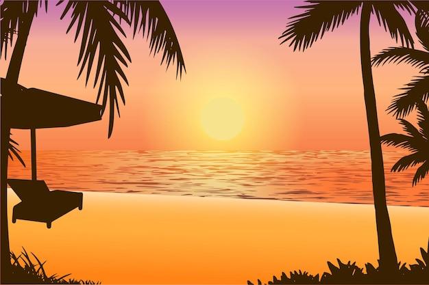 Ilustração em vetor de paisagem natural silhueta de praia tropical por do sol