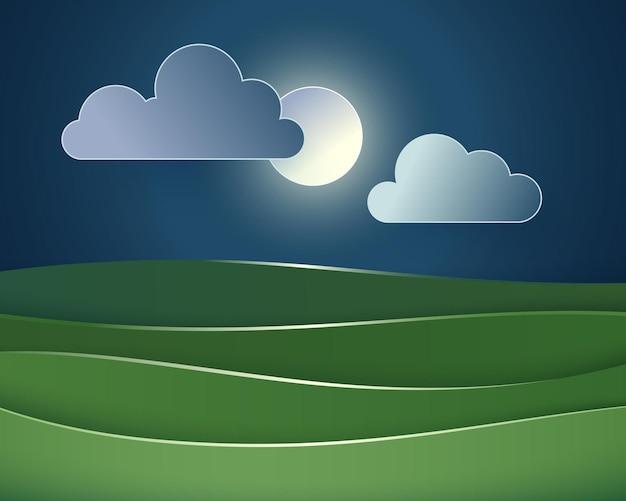 Ilustração em vetor de paisagem noturna com nuvens e campos.