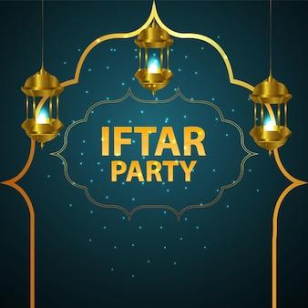 Ilustração em vetor de panfleto de festa iftar e plano de fundo
