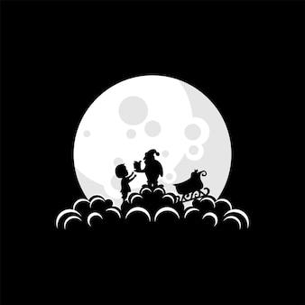 Ilustração em vetor de papai noel dando um presente para uma criança na lua