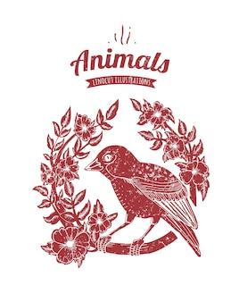 Ilustração em vetor de pássaro linocut isolado