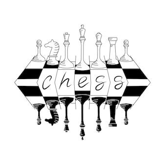 Ilustração em vetor de peças de xadrez em um tabuleiro de xadrez. fundo isolado.