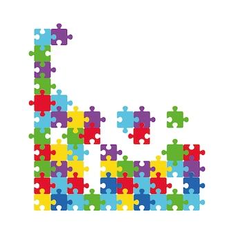 Ilustração em vetor de peças multicoloridas de quebra-cabeças separadas. símbolo isolado de autismo