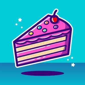 Ilustração em vetor de pedaço de bolo doce rosa