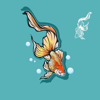 Ilustração em vetor de peixe com buble