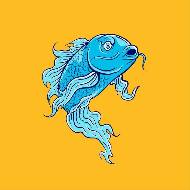 Ilustração em vetor de peixe koi