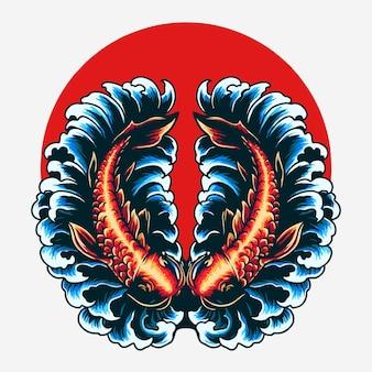 Ilustração em vetor de peixes gêmeos koi