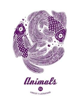 Ilustração em vetor de peixes linocut isolados