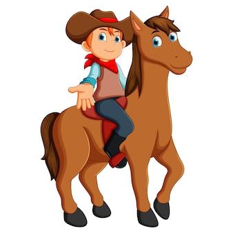 Ilustração em vetor de pequeno vaqueiro a cavalo