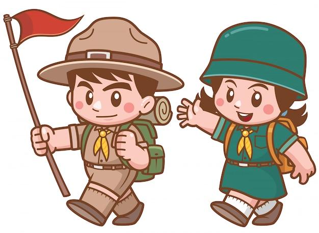 Ilustração em vetor de personagem de crianças escoteiras
