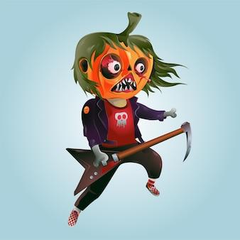 Ilustração em vetor de personagem de desenho animado de halloween tocando guitarra