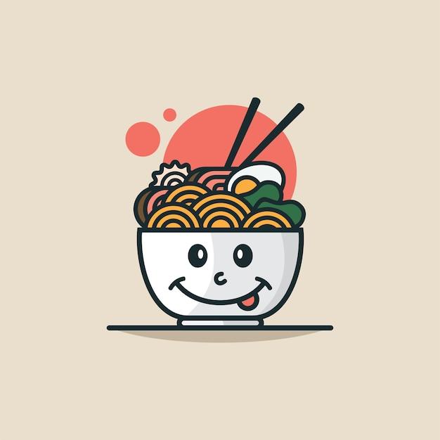 Ilustração em vetor de personagem de ramen fofo pode ser usado para emoji de aplicativo de ícone de interface do usuário da web emoticon