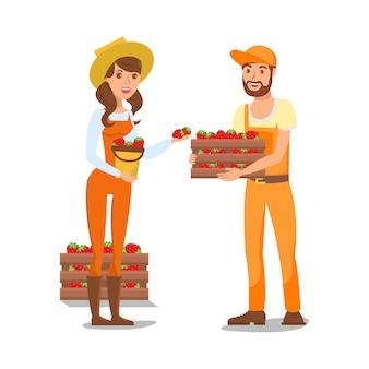 Ilustração em vetor de personagens de desenhos animados de agricultores