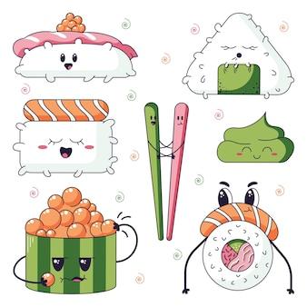 Ilustração em vetor de personagens de desenhos animados de sushi no estilo doodle kawaii