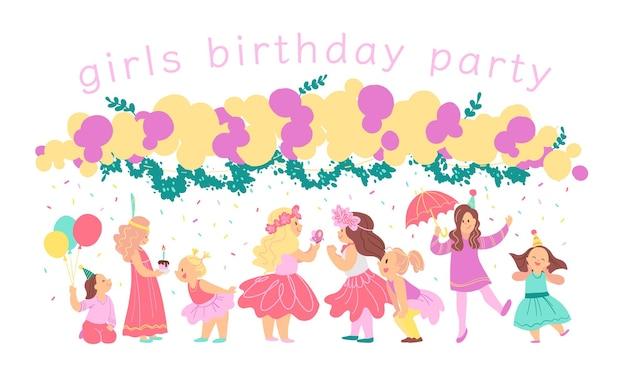 Ilustração em vetor de personagens felizes de festa de aniversário de meninas comemorando com guirlanda de bd, elementos de decoração isolados no fundo branco. estilo liso dos desenhos animados. bom para convites, etiquetas, pôsteres etc.