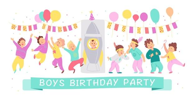 Ilustração em vetor de personagens felizes de festa de aniversário de meninos comemorando com bd guirlanda, balões, foguete isolado no fundo branco. estilo liso dos desenhos animados. bom para convites, etiquetas, pôsteres etc.