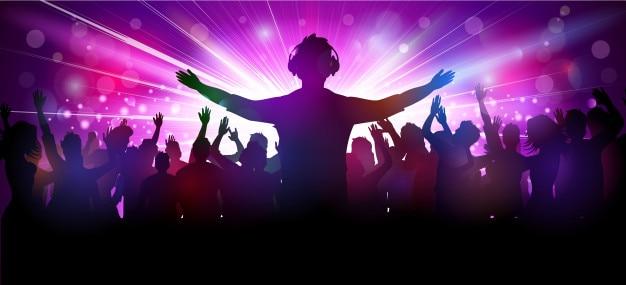 Ilustração em vetor de pessoas de festa no clube