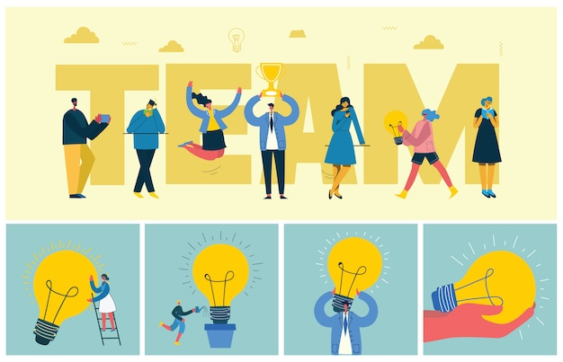 Ilustração em vetor de pessoas de negócios do conceito de escritório no estilo liso. e-commerce e conceito de negócio de trabalho em equipe