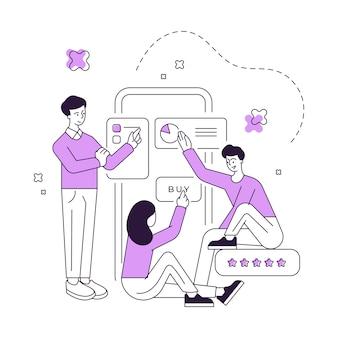 Ilustração em vetor de pessoas navegando em gráficos no smartphone e comprando produtos na loja online