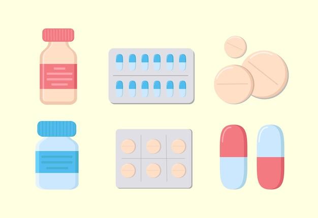 Ilustração em vetor de pílulas, drogas, pílulas, pílulas médicas, pílulas de vidro, remédios