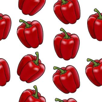 Ilustração em vetor de pimentão vegetal no estilo de realismo padrão sem emenda de cor vermelha em