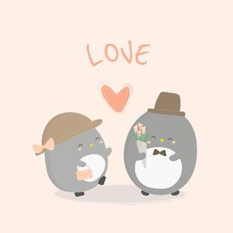 Ilustração em vetor de pinguim com ilustração de coração.