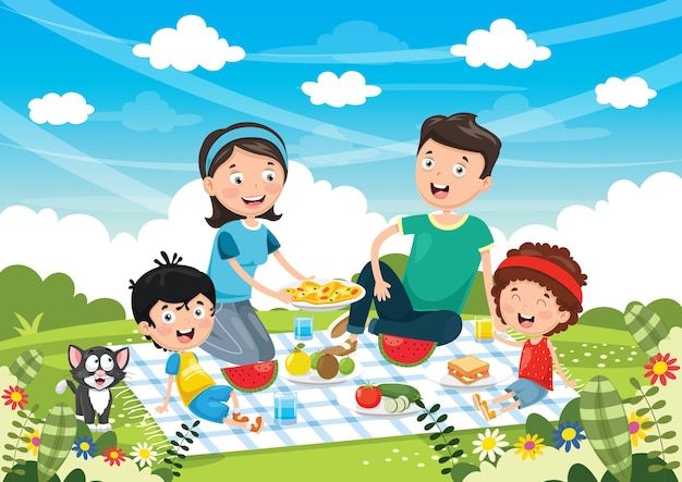 Ilustração em vetor de piquenique em família