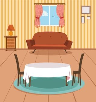 Ilustração em vetor de plano de fundo da sala de jantar um grupo de móveis domésticos