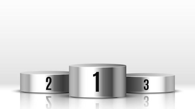 Ilustração em vetor de pódio de vencedores cinza metálico