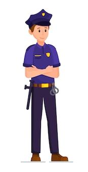 Ilustração em vetor de policial isolado no fundo branco um homem com uniforme de policial e arma