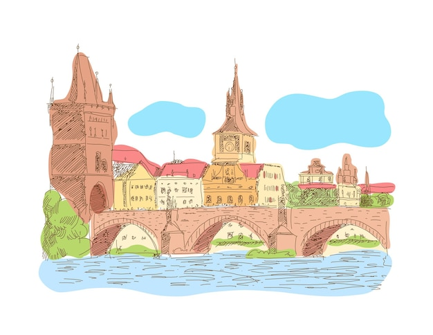 Ilustração em vetor de ponte carlos, marco histórico da república tcheca de praga