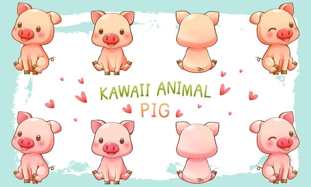 Ilustração em vetor de porco fofo