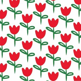 Ilustração em vetor de postagem de mídia social de fundo de padrão de tulipas