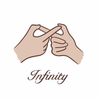 Ilustração em vetor de postagem de símbolo de gesto de mão infinito nas mídias sociais