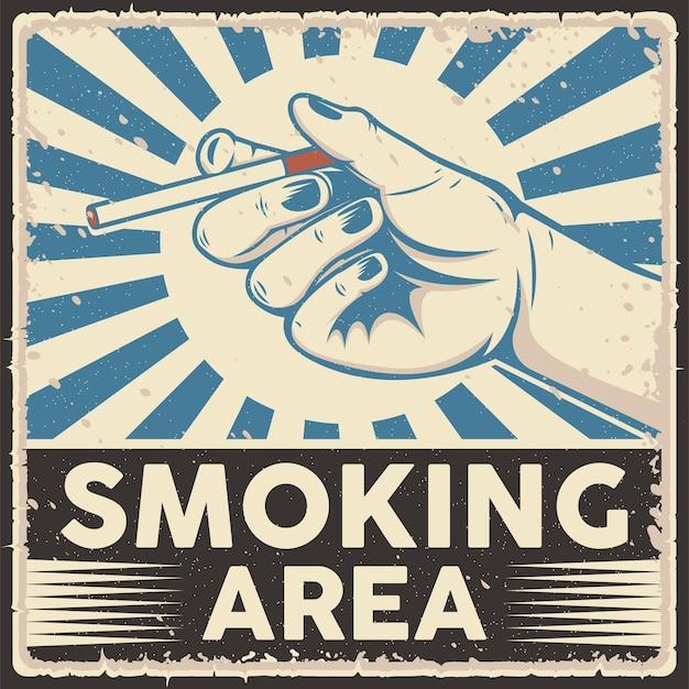 Ilustração em vetor de pôster estilo retro na área de fumantes
