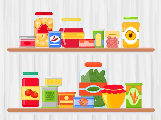 Ilustração em vetor de prateleira na mercearia com produtos alimentares. refeição preservada em um recipiente de metal e vidro em pé na prateleira com luz de fundo de madeira em estilo cartoon plana.