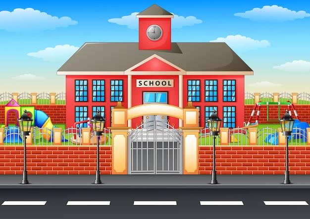 Ilustração em vetor de prédio da escola e área de recreio