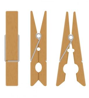 Ilustração em vetor de prendedores de roupa de madeira