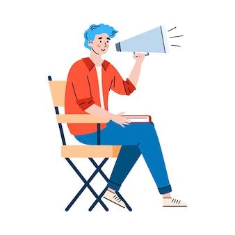 Ilustração em vetor de produtor fazendo produção profissional de filmes de cinema