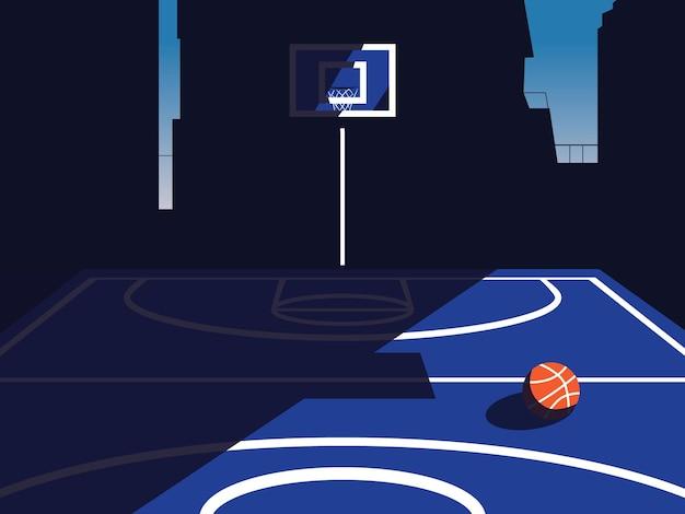 Ilustração em vetor de quadra de basquete com plano de fundo de construção da cidade