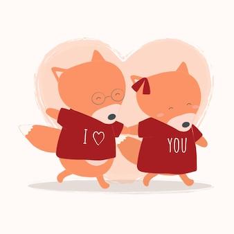 Ilustração em vetor de raposa segurando a mão uma da outra com o coração