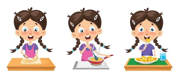 Ilustração em vetor de refeição de culinária de criança