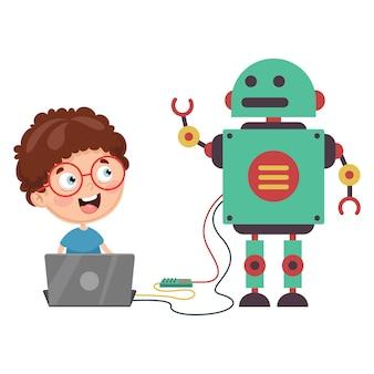 Ilustração em vetor de robô de programação de criança