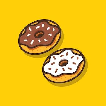 Ilustração em vetor de rosquinhas fofas