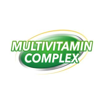 Ilustração em vetor de rótulo multivitamínico de banner de saúde