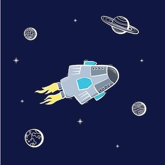 Ilustração em vetor de rover de nave espacial. conceito de explorador de planeta
